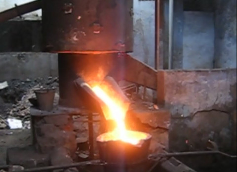 Molten metal from Cupalo Furnace